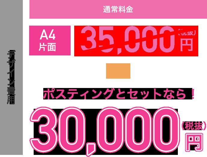 デザイン費用がポスティングとセットで30,000円(税抜)